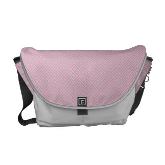 Modern Pink and Silver Greek Key Messenger Bags