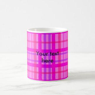 Modern pink and violet plaid classic white coffee mug