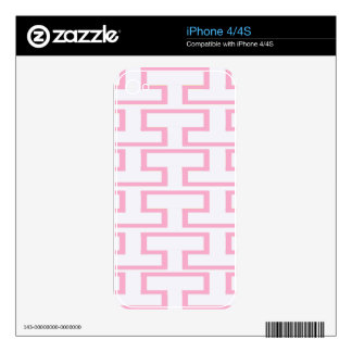 Modern Pink and White Bricks iPhone 4S Decals