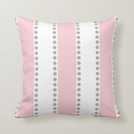 Modern Pink and White Gray Polka Dots Stripes | Throw Pillow