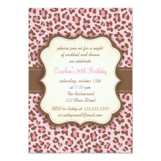 Modern Pink Animal Print Girly Birthday Party Card