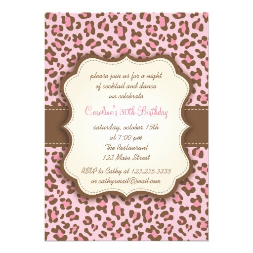 Modern Pink Animal Print Girly Birthday Party Announcements