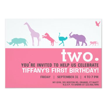 McTiffany Tiffany Aqua Modern Pink Animal Silhouette Birthday Invite