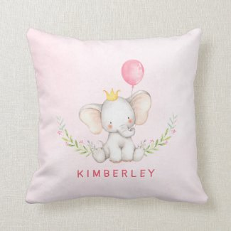Modern Pink Baby Elephant Baby Girl's Name Throw Pillow