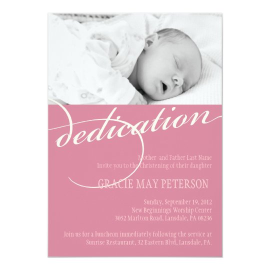 Baby dedication invitations announcements zazzle modern pink baby girl dedication invitation stopboris Image collections