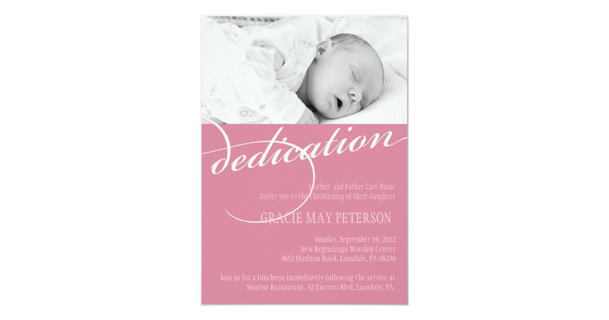 Modern Pink Baby Girl Dedication Invitation Zazzle Com