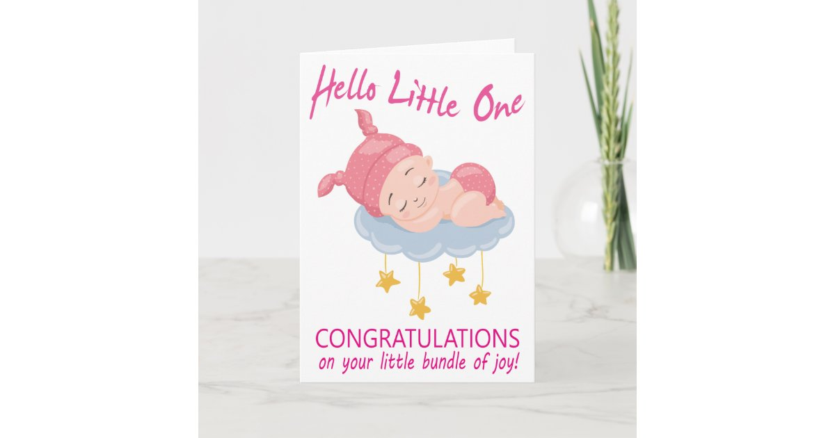 Modern Pink Baby Girl I New Baby Congratulations Card Zazzle Com