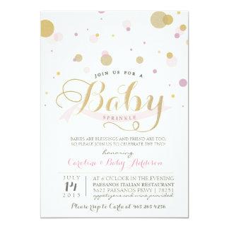 "Modern Pink Baby Sprinkle Baby Shower Invitation 5"" X 7"" Invitation Card"