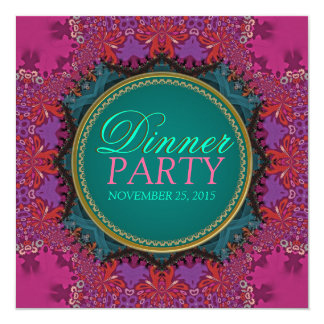 Modern Pink Batik Dinner Party Invitation