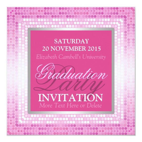 Modern Pink Beauty Graduation Party Invitation