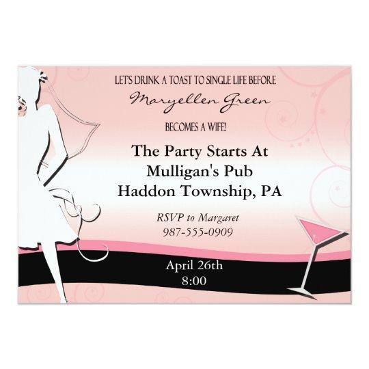 Modern Pink & Black Bachelorette Party Invitation