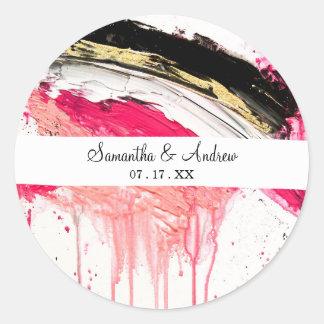 Modern pink black gold brushstrokes splatters classic round sticker