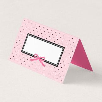 Modern Pink Black Polka Dot with Pink Ribbon Place Card