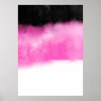 Modern Pink Black Watercolor Block Stripes White Poster