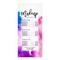 Modern pink blue abstract watercolor wash abstract rack card