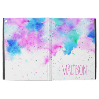 Modern pink blue watercolor brushstrokes splatters iPad pro case