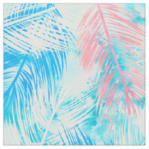 Modern pink blue watercolor palm tree pattern fabric