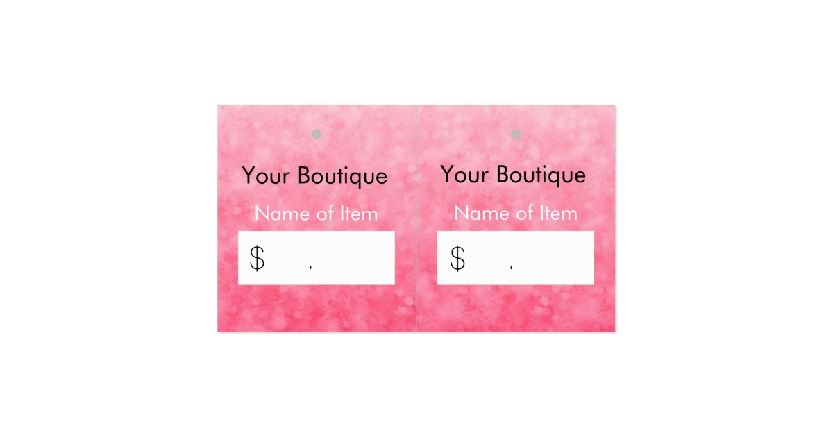 Modern pink boutique hang tags soft and chic double sided for Chic modern boutique