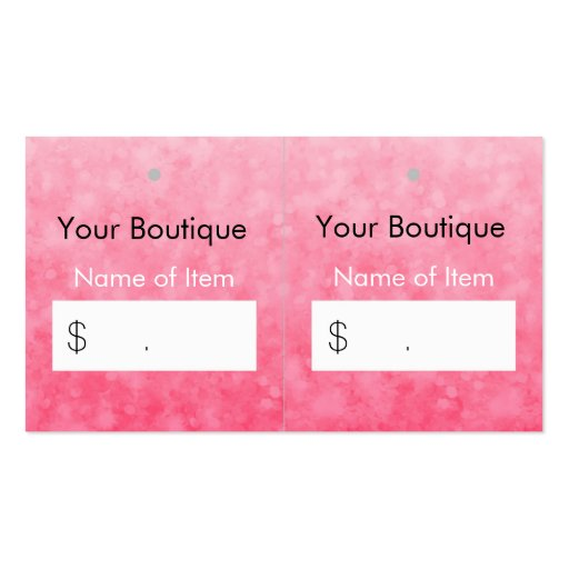 Modern Pink Boutique Hang Tags Soft Chic Glitter Double-sided Standard Business Cards (pack Of 100)