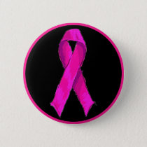 Modern Pink Bow Breast Cancer Awareness & Support Button