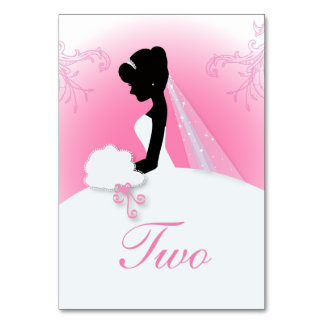 modern pink bride silhouette Bridal Shower Table Cards