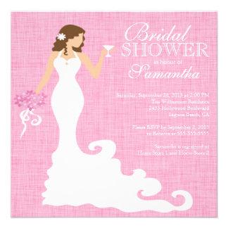 Modern Pink Bride Wine Bridal Shower Personalized Invitation