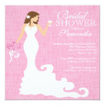 Modern Pink Bride Wine Bridal Shower 5.25x5.25 Square Paper Invitation Card