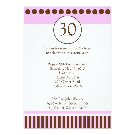 Modern Pink & Brown 5x7 Birthday Invitation
