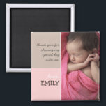 """Modern Pink Brown Thank You Photo Magnet<br><div class=""""desc"""">A modern design makes a special keepsake thank you for just about any occasion.  Shown here featuring a baby photo,  this magnet makes a lovely favor for a christening or baptism for your little girl.</div>"""