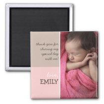 Modern Pink Brown Thank You Photo Magnet