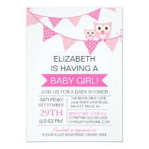 Modern Pink Bunting Owl GIRL Baby Shower Card