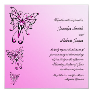 "Modern Pink Butterfly on Pink Wedding Invitation 5.25"" Square Invitation Card"