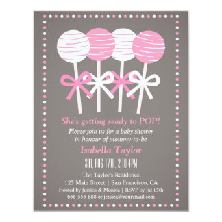 Modern Pink Cake Pops Baby Shower Invitations