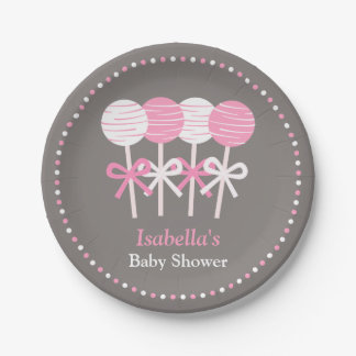 Modern Pink Cake Pops Baby Shower Supplies Paper Plate