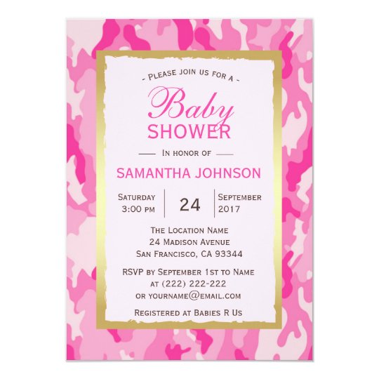 Modern Pink Camo Baby Shower Invitations