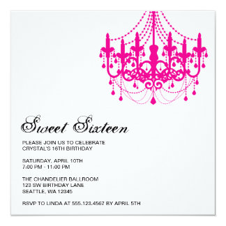 Modern Pink Chandelier Sweet Sixteen Birthday Card