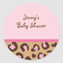 Modern Pink Cheetah Print Envelope Seals