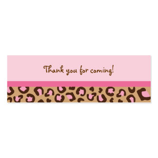 Modern Pink Cheetah Print Goodie Bag Tags Double-Sided Mini Business Cards (Pack Of 20)