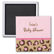 Modern Pink Cheetah Print Personalized Magnets