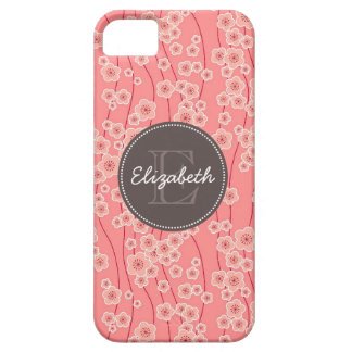 Modern Pink Cherry Flowers Monogrammed iPhone 5 Cases