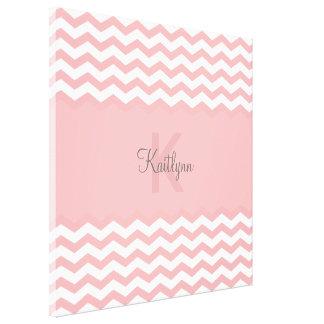 Modern Pink Chevron Custom Monogram Wrapped Canvas