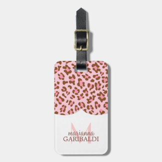 Modern Pink Choco Animal Print Girly Personalized Bag Tag