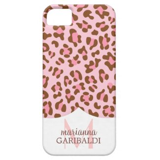 Modern Pink Choco Animal Print Girly Personalized iPhone 5 Case