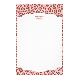 Modern Pink Choco Animal Print Girly Personalized Stationery
