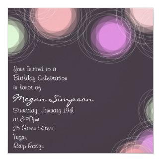 Modern Pink Circle Design Birthday Invitation