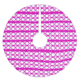 Modern Pink Circles Lines Pattern Brushed Polyester Tree Skirt