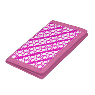 Modern Pink Circles Lines Pattern Trifold Wallet