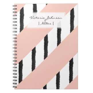 Modern pink coral black watercolor stripes pattern notebook