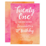 Hand shaped Modern pink coral watercolor ombre 21st Birthday Card