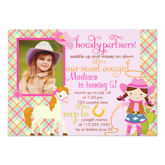 Modern Pink Cowgirl Little Horse Cute Photo Party Card